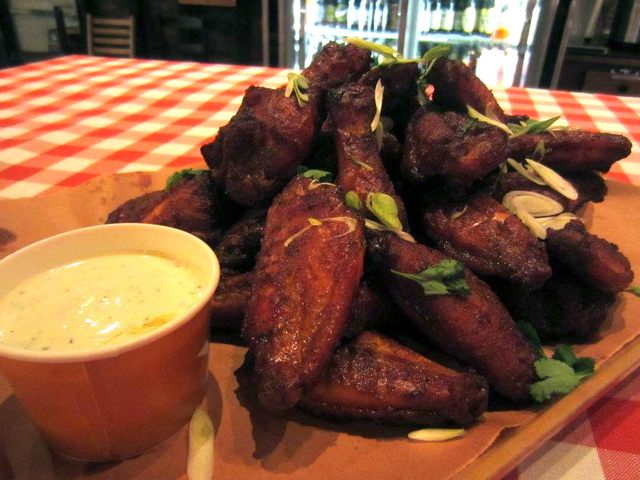 <p>Wings at Hill Country Barbecue.</p>