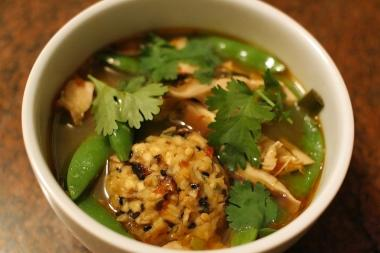This spicy twist on the traditional matzo ball soup uses lemongrass, ginger and chili garlic paste.