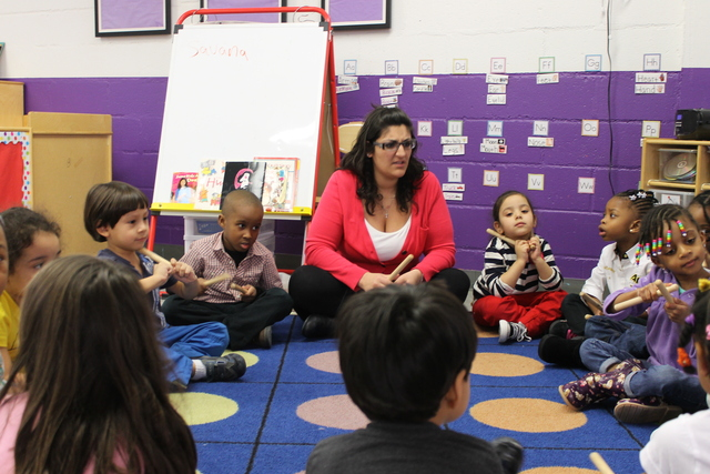 <p>Teacher Jenna Delia leads a class of 3- and 4-year-olds at the Hudson Guild&#39;s Early Childhood Education Program.</p>