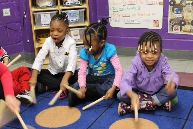 <p>Students learn about rhythm at the Hudson Guild.</p>