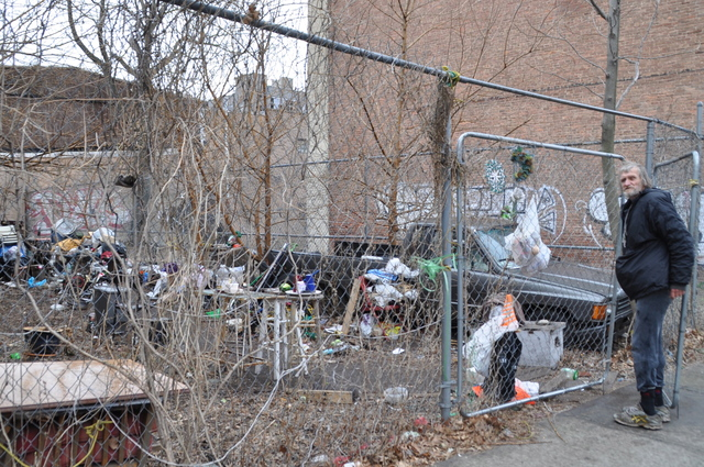 <p>Jerzy Sulek, who lives at 59 Franklin St., is distraught that the neighboring lot will likely soon become a community garden.</p>