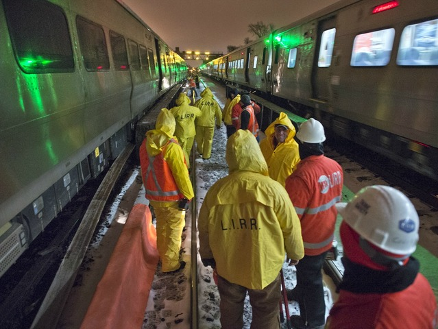 <p>The MTA deployed crews to repair track and right a train that had ridden off the rails on Monday March 18, 2013.</p>