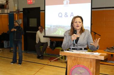 "East Harlem Councilwoman Melissa Mark-Viverito said she had concerns about the pace at which the proposal was moving and criticized NYCHA for meetings filled with voluminous amounts of information. ""This is happening way too fast,"" Mark-Viverito said. ""We have a mayor thhat leaves at the end of the year who supports this process. We know this will be sped through by the end of the year."""