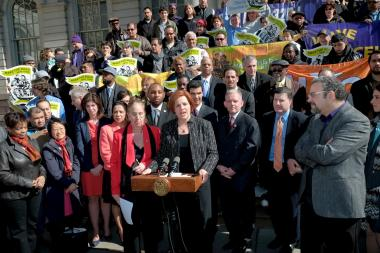 City Council Christine Quinn and supporters announced a deal on paid sick leave on March 29, 2013.