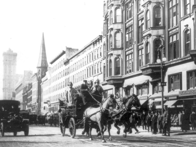 <p>Firefighters rode a horse-drawn fire engine to try to put out the Triangle Shirtwaist Company fire on March 25, 1911.&nbsp;</p>
