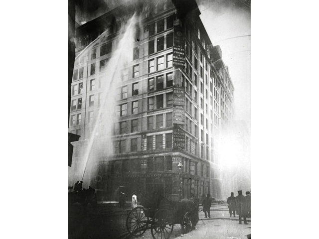 <p>This photo of the Triangle Shirtwaist fire ran on the cover of the &#39;New York World&#39; newspaper March 26, 1911, the day after the fire that killed 146 people.&nbsp;</p>