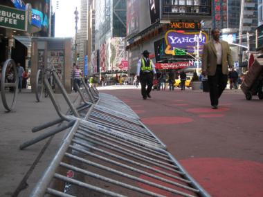 "Barricades lie in Times Square after the Easter Sunday ""wilding"" in 2010."