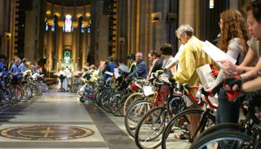 More and more cyclists are turning out each year to have their bikes sprinkled with holy water.