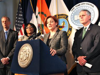 City Council Speaker Christine Quinn, said at a press conference April 22, 2013 City Council is pursuing legislation to raise the minimum tobacco purchasing age from 18 to 21.