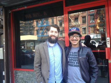 Empire Biscuit co-owners Yonadav Tsuna, 22, and Jonathan Price, 33, in front of their forthcoming eatery on Avenue A.