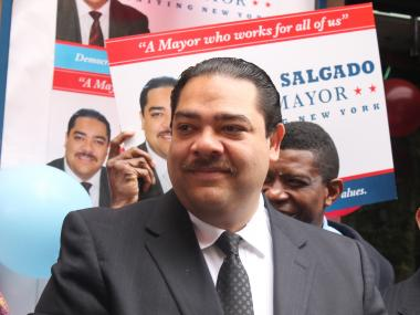 Salgado hopes that the tiny one-room office is the start of a big swing in the the mayoral race.