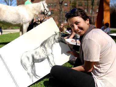Pratt Institute in Brooklyn hosted horses on campus to give students the chance to draw, paint and photograph live animals.