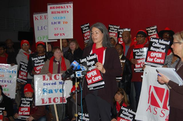 <p>Nurses, physicians and patients rally against the decision to close Long Island College Hospital.</p>