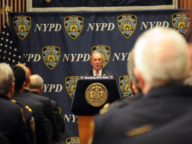 Mayor Michael Bloomberg had harsh words for stop-and-frisk critics, and the media, in a speech at One Police Plaza, April 30, 2013.