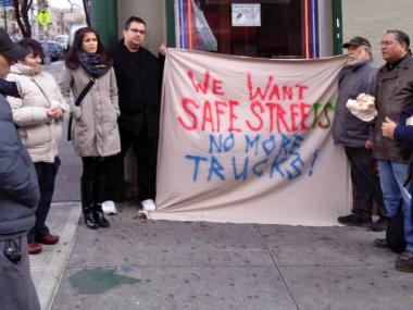 Mott Haven residents at a 2012 rally for safer streets in the neighborhood. The group has planned another rally for Saturday, April 6, 2013, following a recent hit-and-run crash.