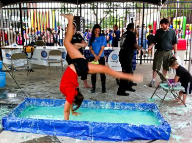 Visitors Float On Goo At Brooklyn Science And Art Museum Pop Up Greenpoint New York