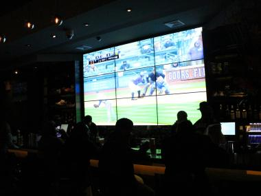 In time for the NBA playoffs, a new sports bar opens with a giant screen on Dyckman Street.