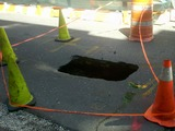 Sinkhole Opens Up on West 10th Street Near Bleecker Street