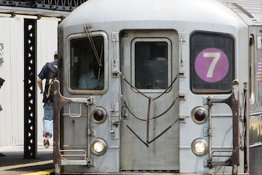A passenger was struck by a Queens-bound 7 train Monday morning, officials said.