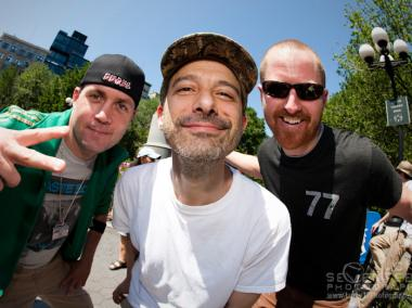 "Beastie Boy Adam ""Ad-Rock"" Horovitz (center) on MCA Day in 2012."
