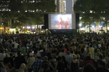 Moviegoers take in a film at the 2011 HBO Bryant Park Summer Film Festival.