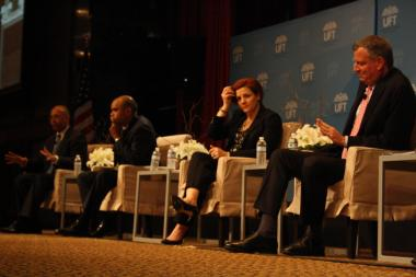 Mayoral candidates (from left) Bill Thompson, Adolfo Carrion, Christine Quinn, and Bill de Blasio at the United Federation of Teachers Mayoral Forum on May 11, 2013.