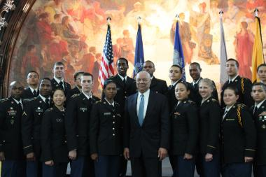 Former Secretary of State and Retired Gen. Colin Powell helped City College re-launch its ROTC progrram 41 years after it was discontinued.