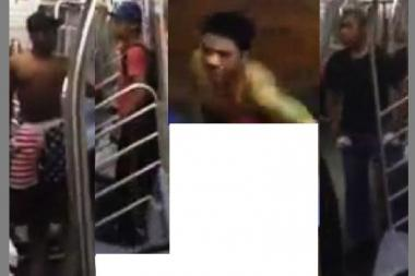 Police are looking for three subway performers who assaulted a man on an F Train in Long Island City.