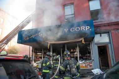 WILLIAMSBURG -  A fire that went to all hands broke out inside of Villa Tapia Grocery Corp on the ground floor of a three story occupied multiple dwelling at 367 South 4th Street at the corner of Hooper Street in Brooklyn. No injuries were reported.