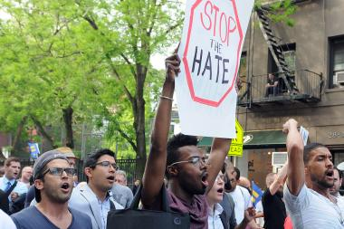 The family of Mark Carson marched with community leaders and a crowd of more than a 1,000 people through the streets of Greenwich Village Monday to protest a recent rash of anti-gay attacks, May 20 2013.