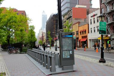 A controversial Citi Bike docking station in SoHo's Petrosino Square.
