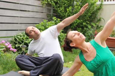 Felecia Kutch, and her husband Kenny, practice restorative yoga, May 18.