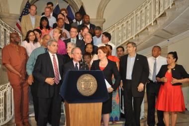 Mayor Michael Bloomberg and Council Speaker Chrsitine Quinn announced the new budget June 23, 2013.