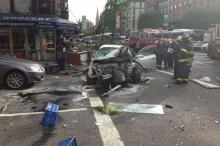 Eight Hurt After Car Jumps Curb in East Village