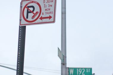 Alternate side parking rules had been suspended above West 181st Street since April 29.