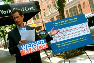 "Speaking outside the New York Blood Center, 310 E. 67th St., Anthony Weiner said Thursday, June 27 2013 that banning gays from blood donation is ""wildly counterintuitive"" discrimination."
