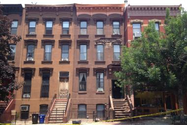 The face of the brownstone, located at 89 Hanson Place in Fort Greene, crumbled at approximately 12:00 p.m. on Monday.