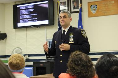Captain Thomas Conforti, Commanding Officer of the 112th Precinct, discusses crime at a recent community council meeting.