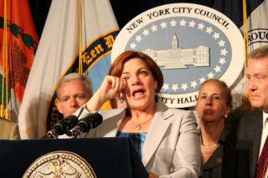 City Council Speaker Christine Quinn wept as she discussed the Supreme Court's decision to overturn DOMA.