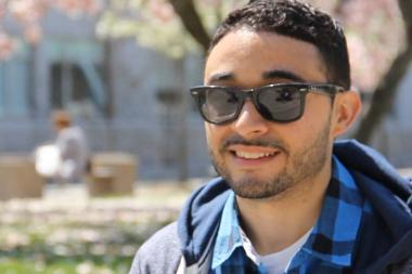 Gabriel Cabrera, the poetry editor at Newtown Literary, is taking a manual typewriter around Queens to collect a line of poetry from residents for the Traveling Typewriter project.