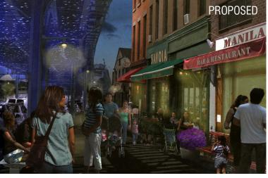 A rendering of a stretch of Roosevelt Avenue at night if the BID is approved.