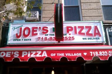 Joe's Pizza of the Village on Fifth Avenue and Fifth Street in Park Slope.