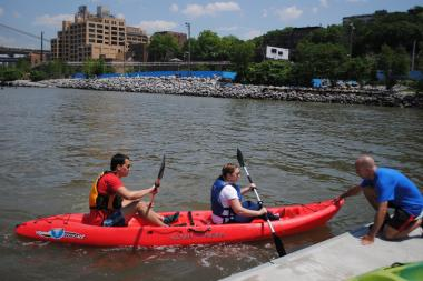 Brooklyn Bridge Park and the Metropolitan Alliance celebrate the new community eco dock at Pier 2, part of the waterfront's regeneration program, with the opening of kayaking season.