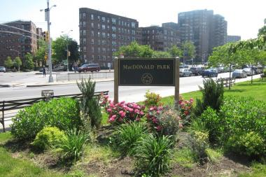MacDonald Park is located at the busy intersection of Queens and Yellowstone boulevards.