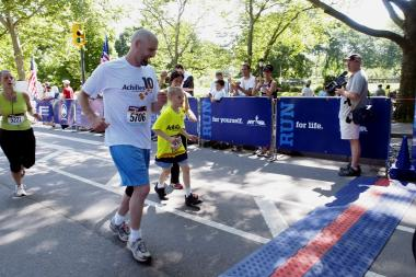 Max Moore, 9, from East Elmhurst, is running Sunday to raise money for an art program at the Queens Museum.