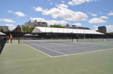 The tennis courts at McCarren Park will be covered over by a heated dome this winter.