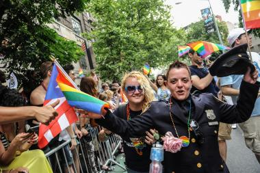 The Pride Parade takes off down Fifth Ave in NY, NY on June 30, 2013 with Edie Windsor and Harry Bellefonte as Grand Marshals.