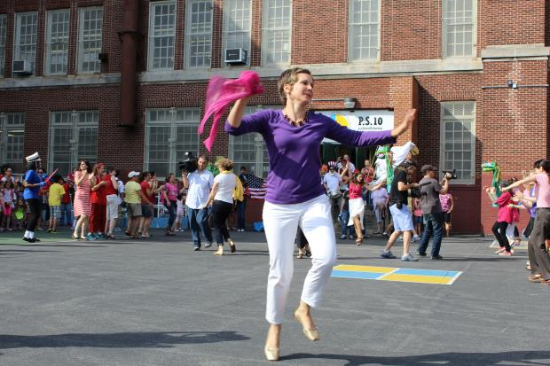 Parents and teachers at P.S. 10 surprised students with a choreographed dance routine during morning line-up.