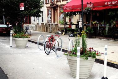 "A ""bike corral"" — on-street parking for bikes — was installed in front of Rose Water restaurant on Union Street and Sixth Avenue on June 18, 2013."