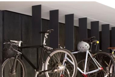 The bike rack in StreetEasy's SoHo headquarters.